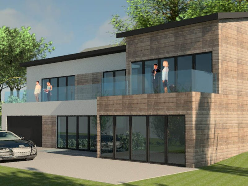 New build house, Inchgarth Road, Aberdeen, Architect, Timber Cladding, Aluminium windows, Aluminium doors, Design and Build, McGregor Garrow Architects